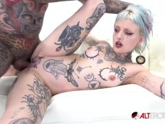 Pierced and tatted hotty gets rammed by a huge cock
