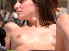 Mind-blowing lass Stripped to the waist Beach Voyeur Public Naked