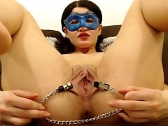 beaver opened up with nips clamps, close up and finger-tickling