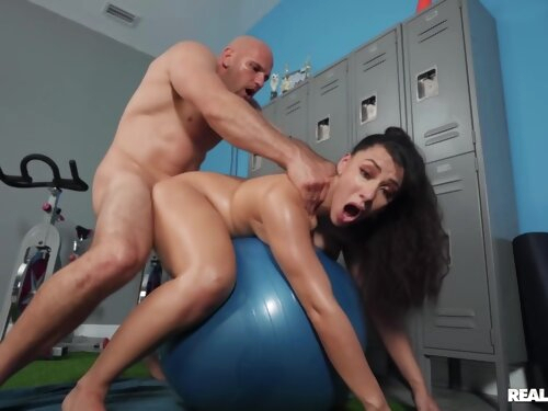 Bald Dude Fucks Brunette Pussy And Ass On Exercise Ball With J Mac And Valentina Jewels
